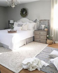 Vintage Decor Rustic Rustic Farmhouse Bedroom Decor Inspiration Ideas Post Roundup - We are working on a bedroom makeover and I found 21 amazing rustic farmhouse bedrooms for decor inspiration. Check out the post to see them all. Farmhouse Bedroom Decor, Cozy Bedroom, Home Decor Bedroom, Modern Bedroom, Girls Bedroom, Bedroom Furniture, Rustic Farmhouse, Bedroom Ideas, White Bedroom