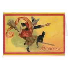 Antique Witch on Broom Card - red gifts color style cyo diy personalize unique