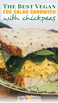 """This is the best vegan """"egg"""" salad sandwich you will ever eat! The recipe mixes up super fast and is made with mashed up canned chickpeas (garbanzos), vegan mayo, and the typical egg salad seasonings. Serve this chickpea """"egg"""" salad sandwich on a crusty bread of choice. You will have all the texture, color, and flavor of a traditional egg salad sandwich; and you didn't even use eggs! 