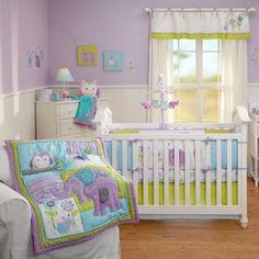 baby nursery elephant nursery bedding   Elephants and Owls Infant Baby Girls 5p Nursery Crib Forest Animals ...