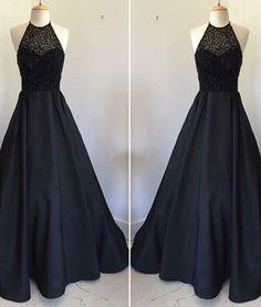 Black round neck satin long prom dress, black evening dress