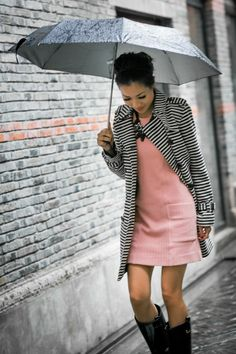 Black & White Striped Trench + Light Pink Dress