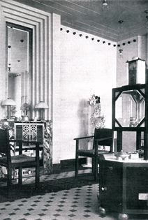 Wiener Werkstätte at Galerie St. Etienne | Joseph Hoffmann and Koloman Moser. Reception room for the Weiner Werkstätte's main office on the Neustiftgasse. 1903-04.