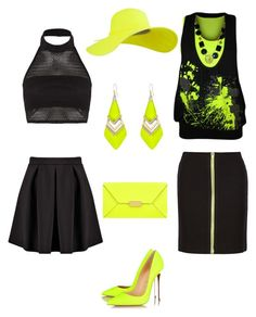 """""""Neon yellow"""" by jofobbester ❤ liked on Polyvore featuring Boohoo, Christian Louboutin, STELLA McCARTNEY, WearAll, Alexis Bittar and Alexander Wang"""
