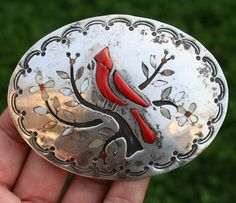 Vintage Native American Zuni Sterling Silver Bird Coral Inlay Belt Buckle Signed #AZuni