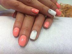 Fashion nails 2016, Nails with rhinestones, Pastel nails, Peach and white nails, Pink and peach nails, ring finger nails, Sea nails, Shellac nails 2016
