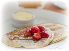 Buttermilk pancakes served with home made butter by Good Things