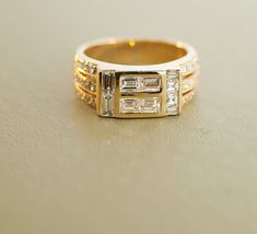 Vintage Men's Yellow Gold and Diamond Ring by TheCopperCanary on Etsy Vintage Diamond Rings, Antique Rings, Antique Jewelry, Vintage Groom, Vintage Men, Diamond Shapes, Diamond Cuts, Seed Pearl Ring, Yellow
