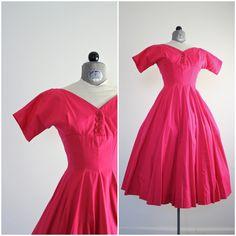 Anne Fogarty Dress • 50s Dress • 1950s Dress • Pink 1950s Dress • 50s Party Dress • 1950s Party Dress • New Look Dress • Fit and Flare Dress by jessjamesjake on Etsy