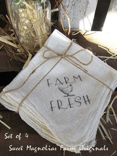 Farmhouse Napkins Set of 4 Farm Fresh by SweetMagnoliasFarm. Lovely.