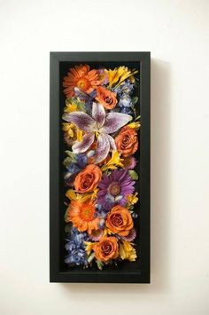 save flowers from bouquet. shadow box.