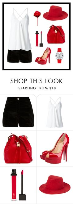 """Black & White with a pop of Red"" by zpdumasia ❤ liked on Polyvore featuring River Island, Dondup, Dolce&Gabbana, Christian Louboutin, Jouer, rag & bone, Movado and monochrome"