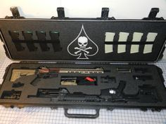 Storm Pelican case with custom foam Weapon Storage, Gun Storage, Arsenal, Gun Cases, Custom Guns, Military Gear, Cool Guns, Guns And Ammo, Tactical Gear