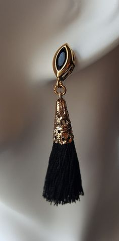 Black silk thread tassel earrings with gold by LRochelleDesigns