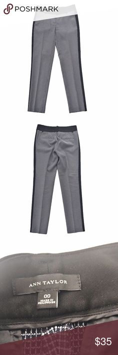"""Ann Taylor plaid color block skinny ankle pants Black and white small plaid print with color blocked sides, size 00 from Ann Taylor. Like new condition. Flat measurements are waist: 15"""", hips: 17"""", front rise: 7.5"""", inseam: 29"""", length: 36.5"""". Ann Taylor Pants Skinny"""