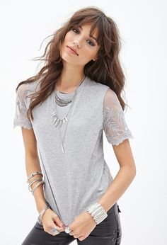 Hair and Lace Sleeve Tee #F21StatementPiece