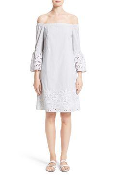 New LAFAYETTE 148 NEW YORK Palmira Stripe Off the Shoulder Dress fashion online. [$598]?@shop hoodress<<