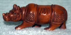 NEW! NETSUKE Asian Carved Boxwood Rhinoceros