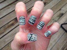 mint ombré tribal nail art(: