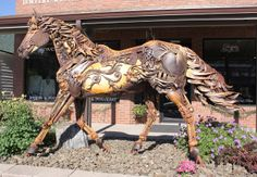 This life-size Hybrid Metal horse is titled IRON STAR.  It won the peoples choice award in 2009 at the Sculpture In the Hills show and was later purchased by the Hill City Ats Council and placed on Main Street in Hill City.