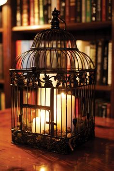 Bird Cage with candles--awesome as table centerpieces or other decorating