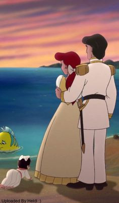 Ariel, Eric, Melody, and Flounder
