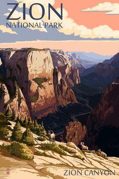 Zion National Park - Zion Canyon Sunset - Lantern Press Poster National Park Posters, National Parks Usa, Zion National Park, Poster Vintage, Vintage Travel Posters, Voyage Usa, Zion Canyon, Park Art, Sunset Art