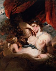 ♛Sir Joshua Reynolds    Cupid Unfastening the Girdle of Venus (1788)        It is quite possible that the model for the painting was Emma, Lady Hamilton, famous as the mistress of Lord Nelson