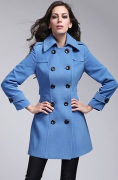 Blue Long Sleeve Label Double Breasted Coat