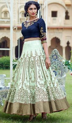 490295 Blue,Green color family Anarkali Suits in Bhagalpuri,Silk fabric with Machine Embroidery,Thread work .