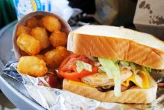 chicken sandwich & tator tots