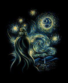 """Starry Night"" by Enkel Dika aka Buko. Darth Vader watches the Death Star set in Van Gogh's Starry night. Star Wars Fan Art, Anakin Vader, Arte Van Gogh, Starry Night Art, Starry Nights, Art Van, Wow Art, Arte Pop, Love Stars"