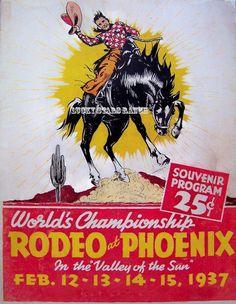 Cowboy Rodeo Poster Phoenix, AZ  Vintage Rodeo Print 18x24 on Etsy, $24.99