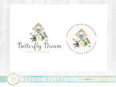 Bird House Logo ,Photography Logo Design ,Boutique Logo ,Floral Watercolor Logo, Decor Logo Design, Watermark,