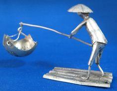 German Silver Tea Strainer Fishing Man by AntiquesAndTeacups, $48.00