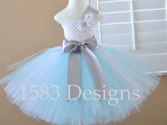 Snowflake Aqua Light Blue Silver White Glitter Tutu Dress - Sizes 12 months to 8 Youth - Winter Ice Frozen party portrait photo Elsa by 1583Designs disney birthday outfit wedding christmas holiday