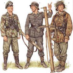 Tyske soldater fra midten af krigen til slutning, er ude at lufte panserværen våben