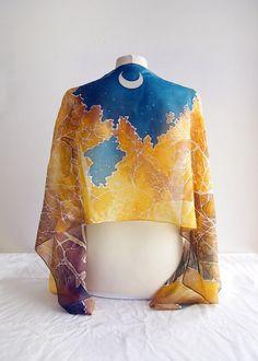 Silk scarf Lothlorien scarves  LOTR scarf  handpainted silk
