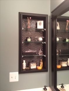 Elegant Glass Shelving To Replace Medicine Cabinet; Black Hex Tile Backing