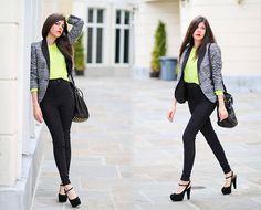 American Apparel Riding Pants, American Apparel Neon Yellow Sweater, Alexander Wang Studded Diego Bucket Bag, Zara Blazer, Marni Platforms