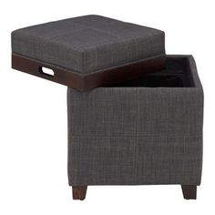 Fabric Storage Ottoman with Reversible Tray, Gray