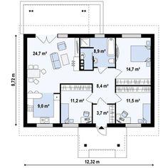 Projekt domu Z61 D Tani i łatwy w budowie dom parterowy także na małą działkę bez okien w ścianach Small Floor Plans, Small House Plans, Family House Plans, Modern House Plans, Big Living Rooms, Apartment Floor Plans, Tiny House Cabin, Big Houses, Interior Design Living Room