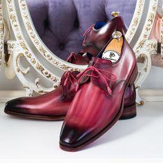 Paul Parkman Pink & Purple Hand-Painted Derby Shoes (ID Mens Shoes Boots, Leather Shoes, Men's Shoes, Shoe Boots, Purple Hands, Painting Leather, Derby Shoes, Luxury Shoes, Stylish Men