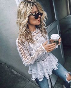 This top exhibit brilliant design with unique lace patterns. Look stylish in this classy top. Perfect as a casual day outfit. Casual Day Outfits, Spring Outfits, Cute Outfits, Look Fashion, Fashion Outfits, Womens Fashion, Spring Summer Fashion, Passion For Fashion, Dress To Impress