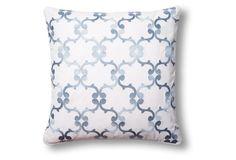 Scroll 18x18 Cotton Pillow, Blue