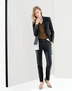 NOV '14 Style Guide: J.Crew women's super 120s suiting, boyfriend v-neck cashmere sweater, and silk tie scarf.