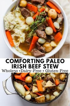 Comforting Irish Beef Stew - The Wooden Skillet - Comforting Irish Stew – the most comforting pot of simmering stew EVER! Hearty, delicious and so - Irish Recipes, Paleo Recipes, Soup Recipes, Irish Desserts, Paleo Meals, Asian Desserts, Burger Recipes, Easy Desserts, Delicious Recipes