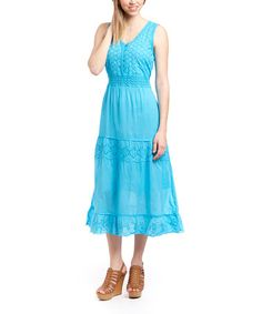 Look what I found on #zulily! Turquoise Eyelet Button-Front Midi Dress by Aqua Blue #zulilyfinds