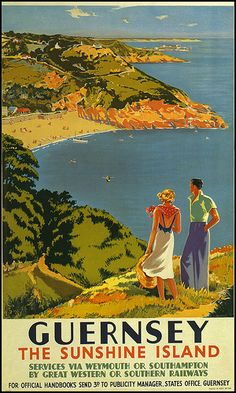 Vintage travel poster for Guernsey issued by Great Western or Southern Railways. Old Poster, Retro Poster, Poster Wall, Guernsey Island, Illustrations Vintage, Sun Illustration, British Travel, Railway Posters, Train Posters