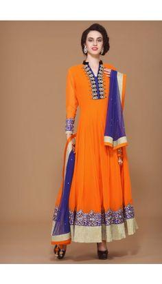 Orange Viscose Anarkali  Suit - 1573